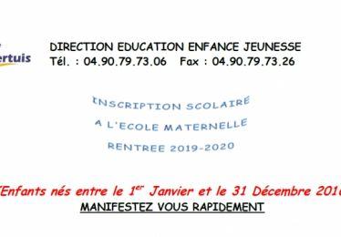 Inscription école maternelle 2019-2020 pour les enfants nés en 2016
