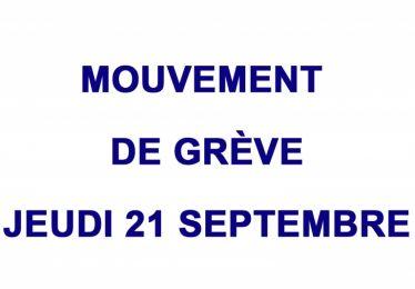 Mouvement de grève jeudi 21 sept