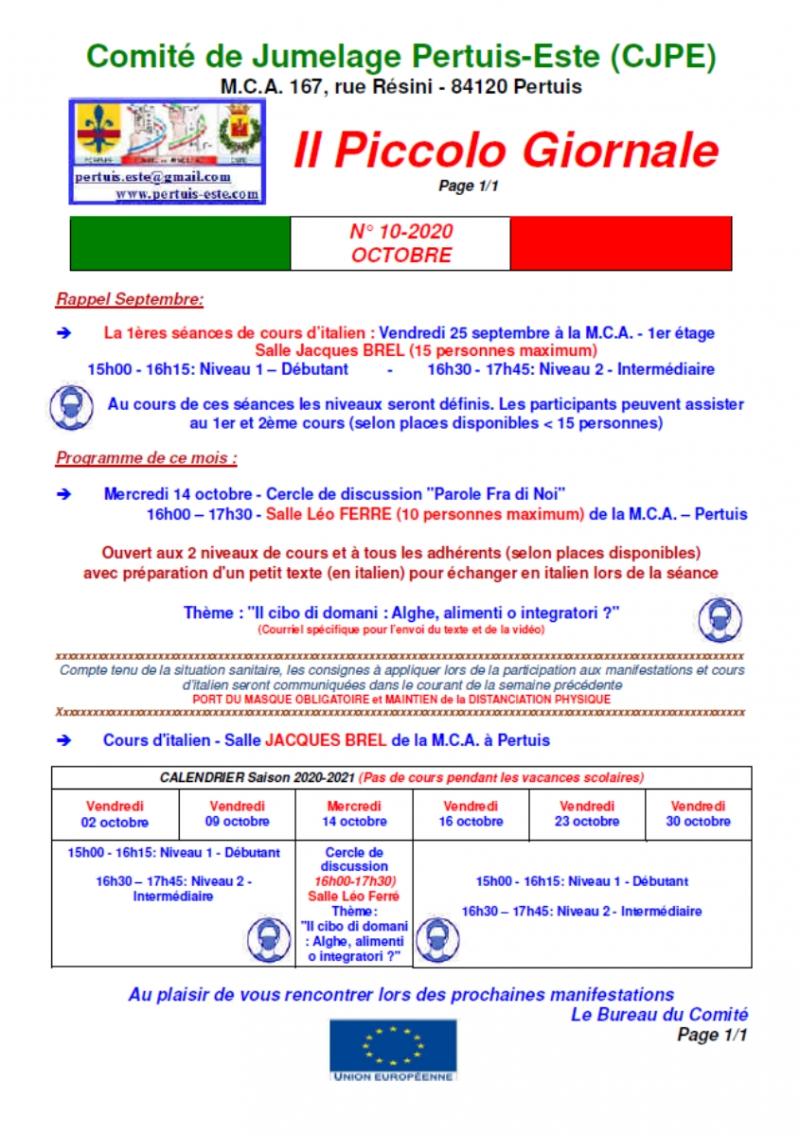 Comité de jumelage Pertuis-Este - Piccolo Giornale octobre