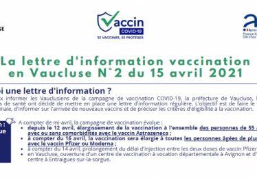 Lettre d'information vaccination n°2 du 15 avril 2021 de la préfecture de Vaucluse