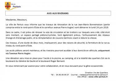Avis aux riverains - Travaux rue Bonnemaison