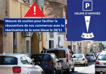 Réactivation de la zone bleue en soutien à la réouverture des commerces du centre-ville à compter de samedi 28 novembre