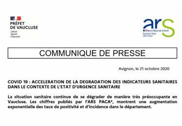 Communiqué de la préfecture de Vaucluse 21-10-20 : dégradation des indicateurs sanitaires