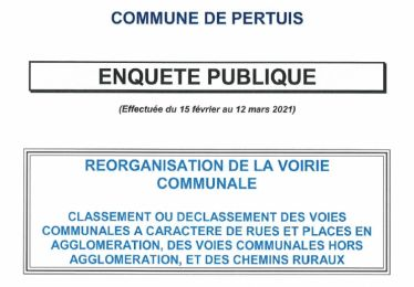 Enquête publique réorganisation de la voirie communale - Conclusions