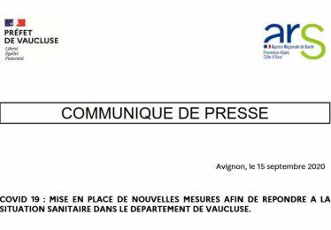Mise en place de nouvelles mesures préfectorales afin de répondre à la situation sanitaire dans le département de Vaucluse