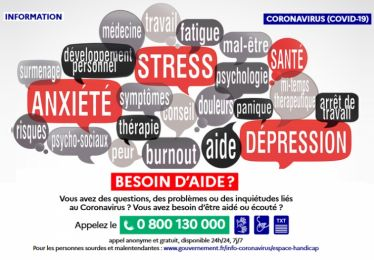 Covid-19 : dispositifs d'écoute et de soutien psychologique